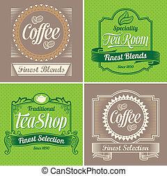 Café antiguo y etiquetas de té