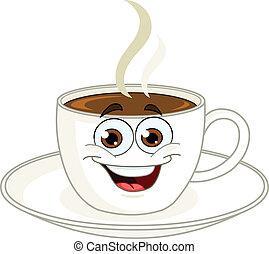 café, caricatura, taza