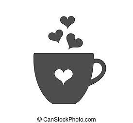 Café con icono de corazones.