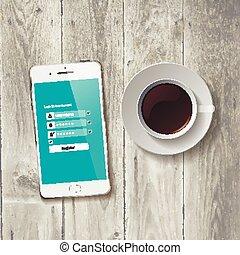 Café con tableta de madera