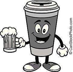 Café con una taza de ilustración de cerveza