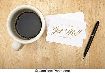 café, conseguir, tarjeta, bien, nota, pluma