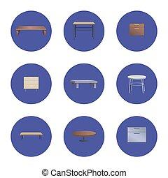 Café de madera y mesas de noche
