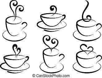 café de té, vector, tazas