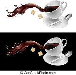 Café en taza blanca