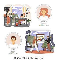 café, gente, oficina, vector, ilustración, reunión, situaciones, plano, presentación negocio, interrupción