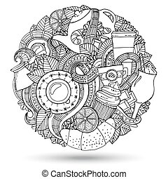 café, hand-drawn, vector, doodles, illustration.