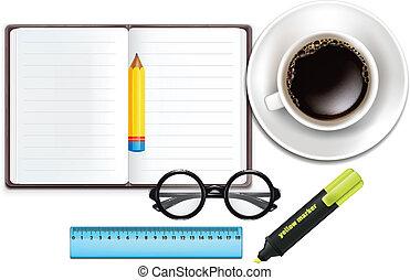 Café, lápiz, cuaderno, mamá