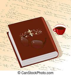 café, libro, ornamento, taza de oro