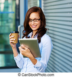 café, mujer, ella, tablet-pc, bebida, lectura
