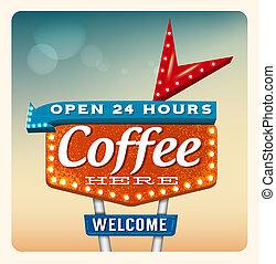 café, neón, retro, señal