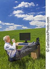 café, relajante, té, campo, escritorio verde, hombre de negocios, bebida