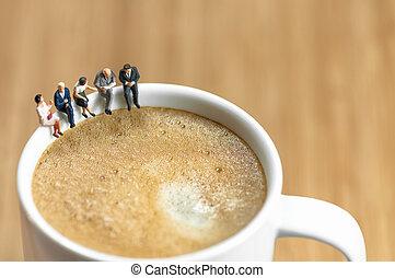 café, rotura del negocio, miniatura, equipo, teniendo