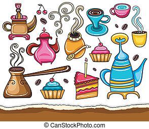 café, té, conjunto, compañero, divertido