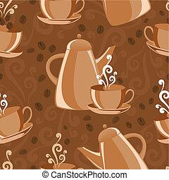 café, tema, plano de fondo, seamless