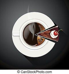 Café y rebanadas de pastel