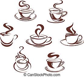 Café y tazas de té