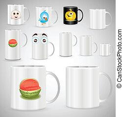 Café y tazas de té y vector de tazas