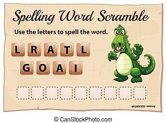 caimán, juego, palabra, ortografía, camino difícil