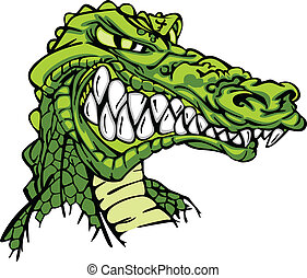 caimán, vector, caricatura, mascota
