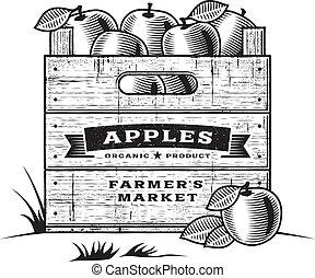 cajón, b&w, retro, manzanas