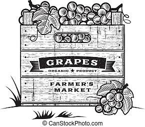 cajón, b&w, retro, uvas