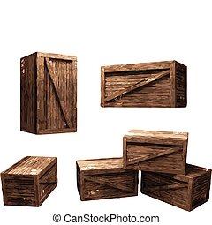 cajón de madera, (vector)