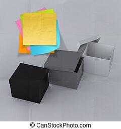 caja, arrugado, concepto, pensamiento, nota pegajosa, exterior, papel