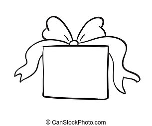 caja, bosquejo, regalo
