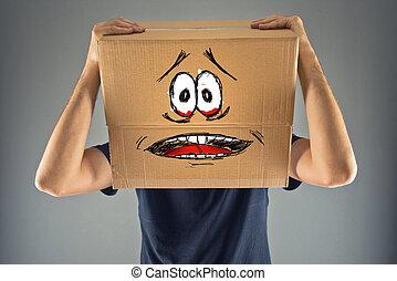 caja, cabeza, el suyo, mirada, cartón, aterrorizado, skethed, hombre