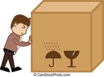 caja, carga, grande, empujar, vector, hombre