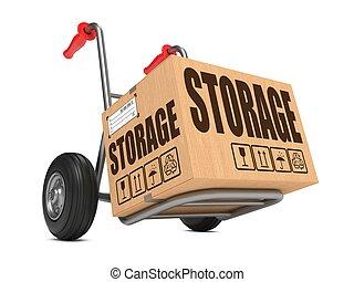 caja, cartón, almacenamiento, -, mano, truck.