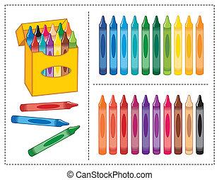caja, colores, 20, carboncillos