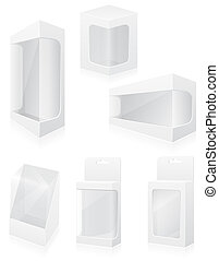 caja, conjunto, iconos, ilustración, embalaje, vector, transparente