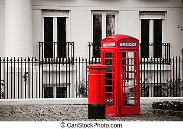 caja, correo, cabina telefónica