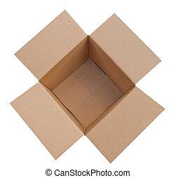 Caja de cartón abierta, aislada