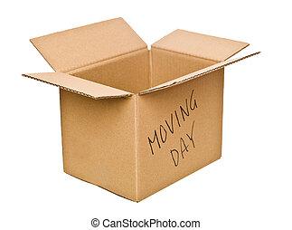 Caja de cartón marcada día de mudanza