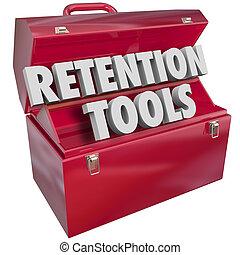 caja de herramientas, clientes, retención, retener, conservar, herramientas, empleados