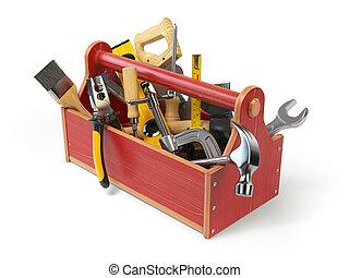 Caja de herramientas de madera con herramientas aisladas en blanco. Skrewdriver, martillo, sierra, hacha, alicates y llave inglesa