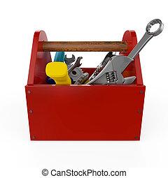 Caja de herramientas roja con herramientas. Escote, martillo, sierra y llave. En construcción, mantenimiento, arreglo, reparación, servicio premium. Una representación de alta calidad, aislada.