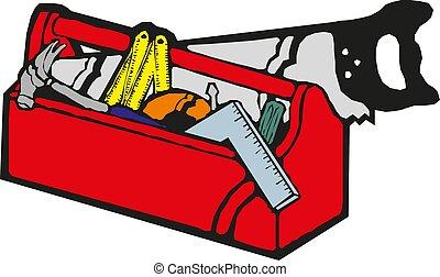 Caja de herramientas rojas Vector con herramientas manuales