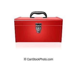 caja de herramientas, rojo