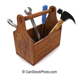 Caja de herramientas. Skrewdriver, martillo, sierra y llave inglesa. 3D
