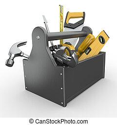Caja de herramientas. Skrewdriver, martillo, sierra y llave.