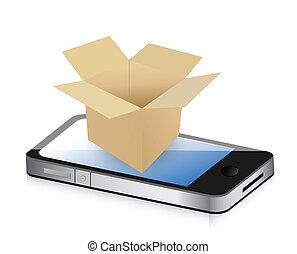 Caja de papel en el teléfono para el concepto de transporte