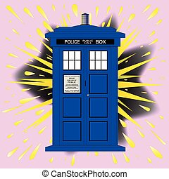 Caja de policía británica con explosión abstracta