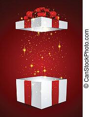 Caja de regalos con arco rojo.
