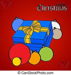 Caja de regalos de Navidad y balones dibujados a mano en rojo texturizado