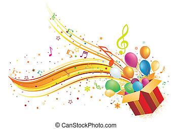 Caja de regalos y música