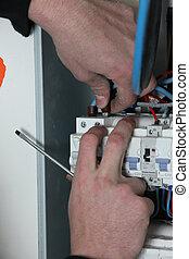 caja, electricista, fusible, cableado